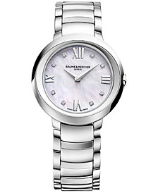 Baume & Mercier Women's Swiss Promesse Diamond Accent Stainless Steel Bracelet Watch 30mm M0A10158