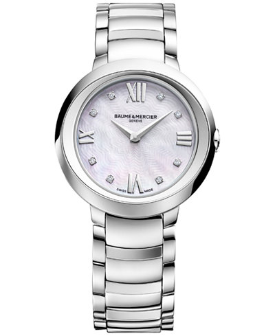 Baume & Mercier Women's Swiss Promesse Diamond Accent Stainless Steel Bracelet Watch 30mm M0A10158