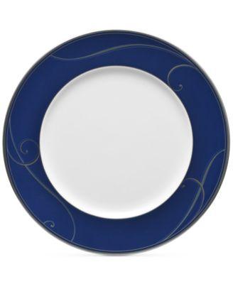 Platinum Wave Indigo Porcelain Dinner Plate