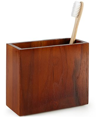 CLOSEOUT! Hotel Collection Teak Toothbrush Holder, Created for Macy's