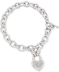 Diamond Heart Charm Bracelet (1/4 ct. t.w.) in Sterling Silver