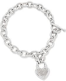 Diamond Heart Charm Bracelet (1/4 ct. t.w.) in Sterling Silver