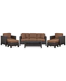 CLOSEOUT! Katalina Outdoor Wicker 6-Pc. Seating Set (1 Sofa, 2 Club Chairs, 1 Coffee Table and 2 Ottomans), Created for Macy's