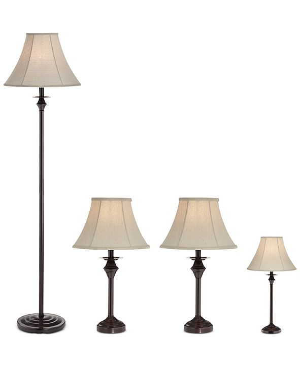 Kathy Ireland Pacific Coast Traditional Set of 4 Lamps (2 Table Lamps, 1 Mini Table Lamp, 1 Floor Lamp), Created for Macy's