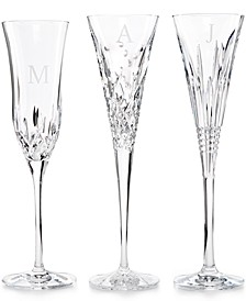 Monogram Set Of 2 Toasting Flutes Collection, Block Letters