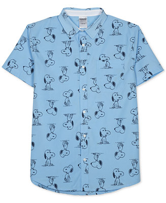 men 39 s peanuts snoopy print short sleeve shirt by jem casual button. Black Bedroom Furniture Sets. Home Design Ideas