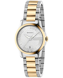 Gucci Women's Swiss G-Timeless Two-Tone PVD Stainless Steel Bracelet Watch 27mm YA126531