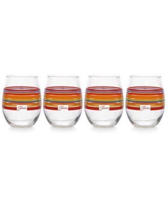 Scarlet Stripe Set of 4 Stemless Wine Glasses