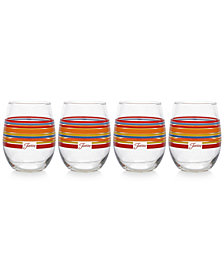 Fiesta Scarlet Stripe Set of 4 Stemless Wine Glasses
