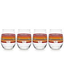 Fiesta Scarlet Stripe Set of 4 Stemless Wine Glasses