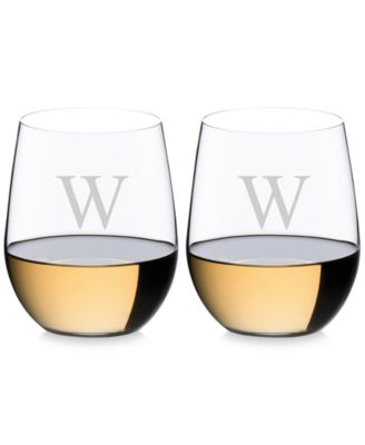 O Monogram Collection 2-Pc. Block Letter Chardonnay Stemless Wine Glasses
