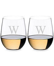Riedel O Monogram Collection 2-Pc. Block Letter Chardonnay Stemless Wine Glasses