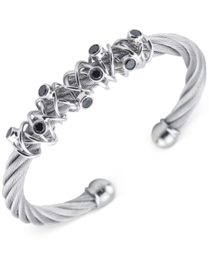 Charriol Women's Silver-Tone Black Spinel Cable Bangle Bracelet