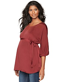 Maternity Belted Boat-Neck Blouse