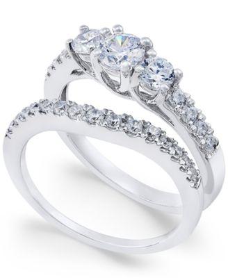 Macy S Diamond Bridal Three Stone Ring Set 1 Ct T W In 14k White