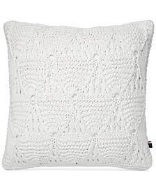 "CLOSEOUT! Tommy Hilfiger Bar Harbor White 20"" Square Decorative Pillow"