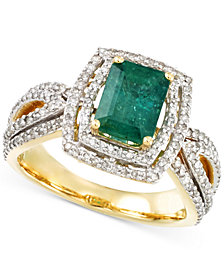 RARE Featuring GEMFIELDS Certified Emerald (1-1/5 ct. t.w.) and Diamond (2/3 ct. t.w.) Ring in 14k Gold