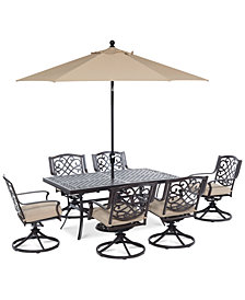 "CLOSEOUT! Park Gate Outdoor Cast Aluminum 7-Pc. Dining Set (68"" x 38"" Dining Table and 6 Swivel Rockers), Created for Macy's"