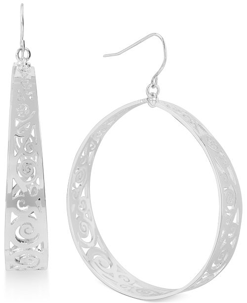 Touch of Silver Cutout Hoop Earrings in Silver-Plating