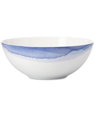 Indigo Watercolor Stripe Porcelain Serving Bowl, Created for Macy's