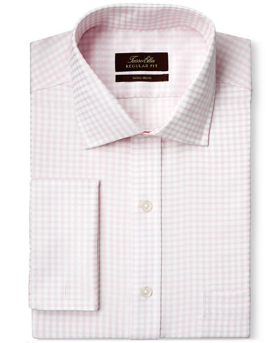 Tasso Elba Non Iron Pale Pink Sateen Gingham French Cuff