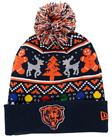 New Era Chicago Bears Christmas Sweater Pom Knit Hat