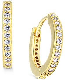 "Danori Gold-Tone Crystal Pavé 1/2"" Huggie Hoop Earrings, Created for Macy's"