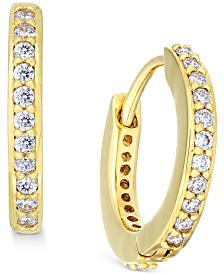 "Eliot Danori Gold-Tone Crystal Pavé 1/2"" Huggie Hoop Earrings, Created for Macy's"