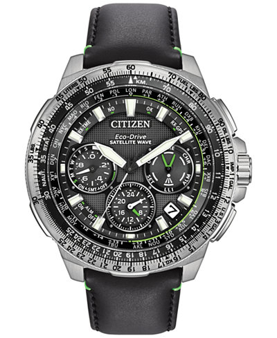 Citizen Men's Chronograph Eco-Drive Black Leather Strap Watch 47mm CC9030-00E