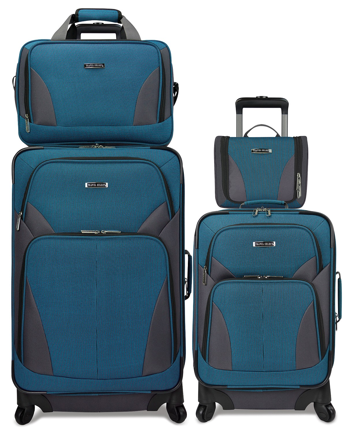 Travel Select Allentown 4-Piece Spinner Luggage Set (Turquoise / Gray)