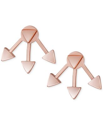 French Connection Rose Gold-Tone Triangle Jacket Stud Earrings