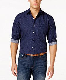 Club Room Long-Sleeve  Dot-Print Stretch Shirt, Created for Macy's