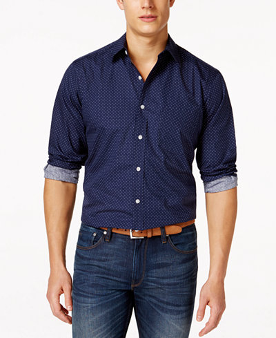 Club Room Dot-Print Long-Sleeve Stretch Shirt, Created for Macy's