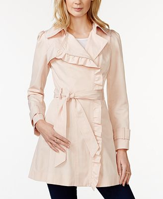 Jessica Simpson Ruffled Asymmetrical Trench Coat