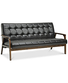 Caden Mid-Century Faux Leather Sofa, Quick Ship