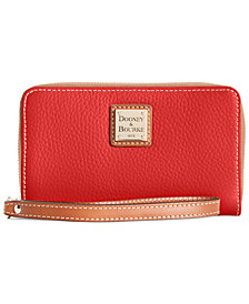 Dooney & Bourke Zip Around Pebble Leather Wristlet