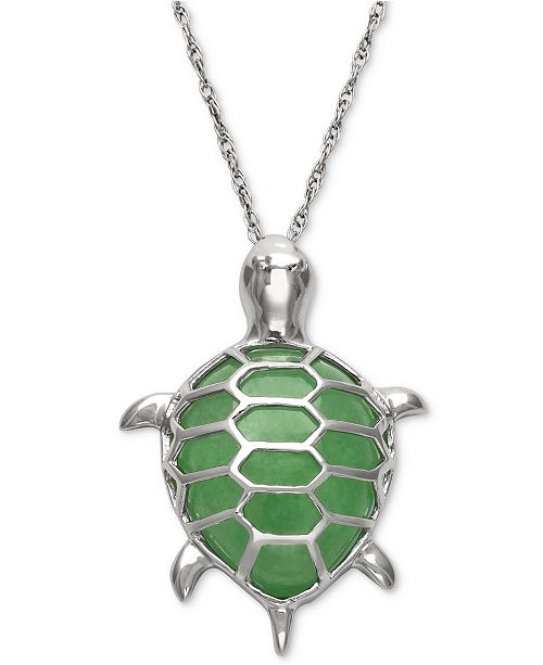 Macy's Dyed Jade  Turtle Pendant Necklace in Sterling Silver