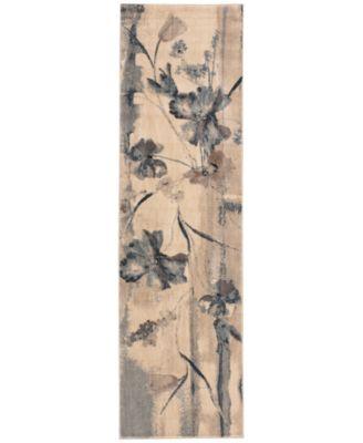 """CLOSEOUT! Somerset Ivory/Blue Art Flower 2' x 5'9"""" Runner Rug"""