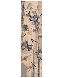 "CLOSEOUT! Nourison Somerset Ivory/Blue Art Flower 2'3"" x 8' Runner Rug"