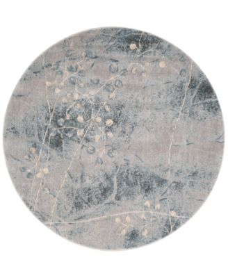 """CLOSEOUT! Somerset Silver/Blue Blossom 5'6"""" Round Rug"""