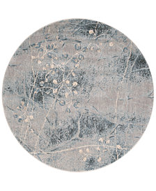 "CLOSEOUT! Nourison Somerset Silver/Blue Blossom 5'6"" Round Rug"
