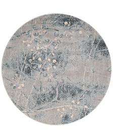 """CLOSEOUT! Nourison Somerset Silver/Blue Blossom 5'6"""" Round Rug"""