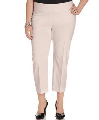 Alfani Plus Size Pull-On Capri Pants, Only at Macy's - Pants ...