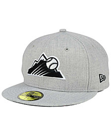 New Era Colorado Rockies Heather Black White 59FIFTY Fitted Cap