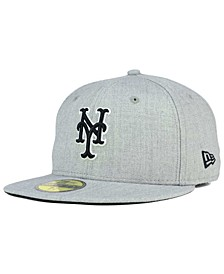 New York Mets Heather Black White 59FIFTY Fitted Cap