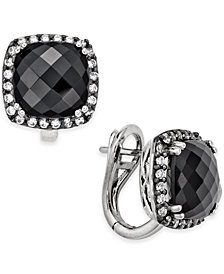 Onyx (10mm) and Swarovski Zirconia Omega Back Stud Earrings in Sterling Silver