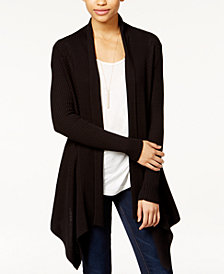 Bar III Ribbed Waterfall Cardigan, Created for Macy's