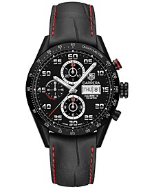 Men's Swiss Automatic Chronograph Carrera Black Leather Strap Watch 43mm