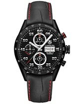 3ac492d3947 TAG Heuer Men s Swiss Automatic Chronograph Carrera Black Leather Strap  Watch 43mm
