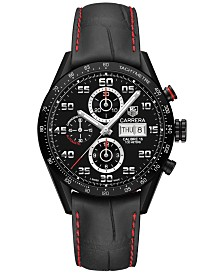TAG Heuer Men's Swiss Automatic Chronograph Carrera Black Leather Strap Watch 43mm